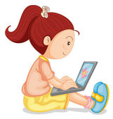 A girl with laptop — Stock Vector