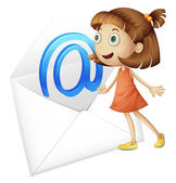 A girl and mail envelop — Stock Vector