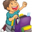 Stock Vector: A boy with school bag