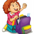A girl with school bag — Stock Vector #12200406