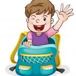 A boy in the school bag — Stock Vector #12200420