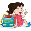 A girl with school bag — Stock Vector