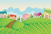 Colonia de viviendas en la naturaleza — Vector de stock