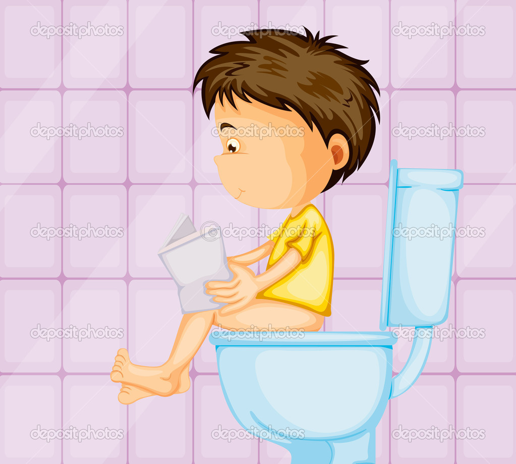 Illustration of a boy sitting on western commode in toilet — Stock Vector #12200429