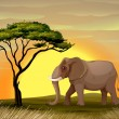 Stock Vector: Elephant under a tree