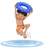 A boy diving into water — Stock Vector