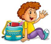 A boy with school bag — Stock Vector
