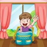 Boy sitting in school bag — Stock Vector #12284155