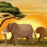 Слон под дерево — Cтоковый вектор