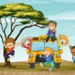 Royalty-Free Stock Vector Image: Kids and school bus