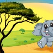 Royalty-Free Stock Vector Image: Elephant under a tree