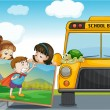 Stock Vector: Kids and school bus