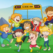 Kids and school bus - Stock Vector
