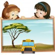 Girls and school bus - Stock Vector