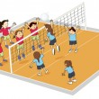 Girls playing volley ball — Imagen vectorial
