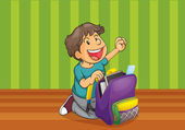 A boy with schoolbag — Stock Vector