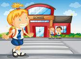 Kids infront of school — Stock Vector