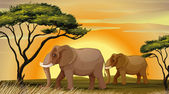 Elephant under a tree — Stock Vector