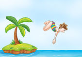 Palm tree girl diving on island — Stock Vector