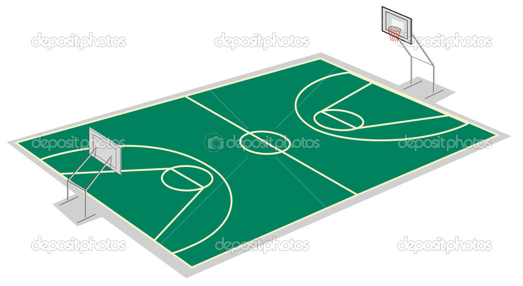 Illustration of boys playing basket ball on ground.