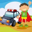 Stock Vector: Boy and car