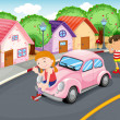 Royalty-Free Stock Vector Image: Kids and car