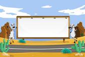 Zebra and white board — Stock Vector