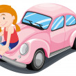 Girl and car — Stock Vector