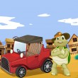 Tortoise and car - Stock Vector