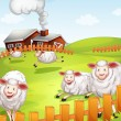 Stock Vector: Sheeps in farm