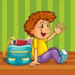 A boy with school bag — Stock Vector #12350180