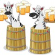 Zebra with beer jar — Stock Vector