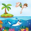 Island, corel, shark and girl diving — Stock Vector #12350785