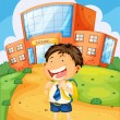 Boy infront of school — Stock Vector