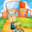 Boy infront of school — Stock Vector #12350796