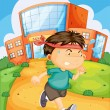 Boy infront of school - Stock Vector