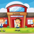 Stock Vector: Kids infront of school