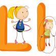 Kids in the letters series — Stock Vector