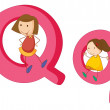 Kids in the letters series — Stock Vector #12350815