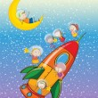 Kids on moon and spaceship - Stock Vector