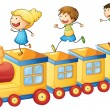 Stock Vector: Kids on train