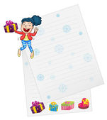 Girl and paper — Stock Vector