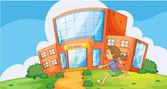 Girl infront of school — Stock Vector
