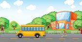Girl running behind school bus — Stok Vektör