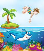 Island, corel, shark and girl diving — Stock Vector
