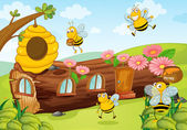 Honey bees and wooden house — Stock Vector