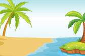 Palmand coconut tree on sea shore — Stock Vector