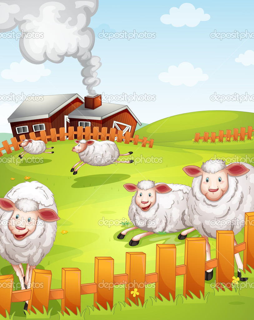 Illustration of sheeps in the farm near the house — Stock Vector #12350147