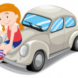 Girl and car — Imagen vectorial