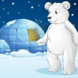 Polar bear and igloo - Stock Vector